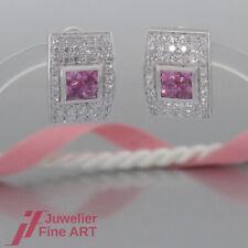 Ohrringe - Clip-Stecker - rosa Saphire (Safir) & Brillanten - 18K/750 Weißgold