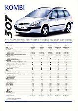 Peugeot 307 Kombi 05 / 2003 catalogue brochure polonais rare