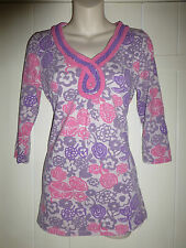 Boden size 10 top purple and pink floral plaited edge
