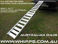 Aluminium 2.5 Metre Folding Motorcycle Loading Ramp Extra Grip Non Slip Rungs