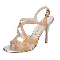 Chaussures Femme LELLA BALDI 36,5 Ue Sandales Beige Cuir en Daim Bp11-36,5