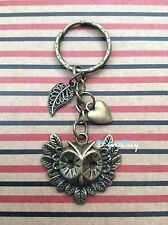Wisdom Owl Keyring Fob Antique Bronze Leaf Heart Charm Teacher Birthday Gift