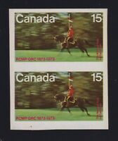 Canada Sc #614 (1973) 15c Mountie Imperforate Pair Mint VF NH MNH