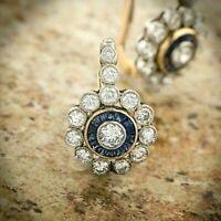 14K Gold Over Antique Vintage Art Deco Floral 4.0Ctw Diamond Halo Earrings