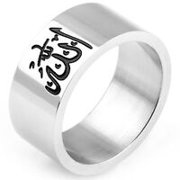 10MM Size 7-15 Muslim Islamic Ring Stainless Steel Arabic Middle Eastern Turkish