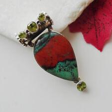 Sonora Sunrise (minerale) & Peridot, verde, rimorchio, 925 Sterling Argento, Nuovo