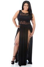 NEW Black Floral Lace Top Plus Size Sheer Double Split Slit Maxi Dress 18 20 UK