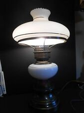 Gone With The Wind Style Table Lamp White Glass Bottom & Top Globes very old