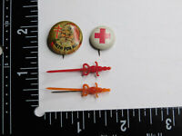Lot of 4 Vtg National Tuberculosis Pin Health Care Red Cross Santa Double Barred
