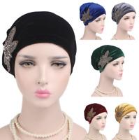 Women's Ladies Velvet Flower Muslim Turban Cancer Chemo Hat Beanie Cap Head Wrap