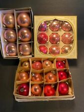 "36 Vintage Shiny Brite Christmas Tree Ornaments 3"" Balls Bulbs Pink Color"