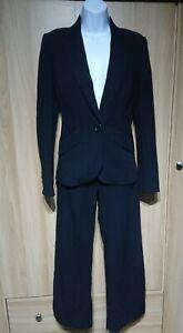 Karen Millen Black Striped Wool Blend Suit Jacket/Wide Leg Trousers Size 8