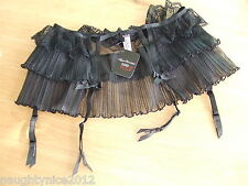 AGENT PROVOCATEUR SEXY BLACK FIFI FRILL LACE SUSPENDER SIZE 3 MEDIUM UK10-12 NWT
