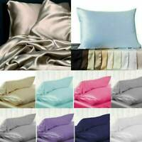 100% Satin Silk Soft Mulberry Plain Pillowcase Pillow Case Cover Bedroom Bedding