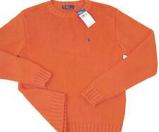 NEW Polo Ralph Lauren Boys Crew Neck Sweater!  M (12-14)   Orange   Blue Player