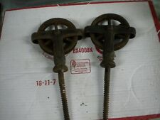 2 VINTAGE IRON SCREW IN BARN DOOR PULLEYS