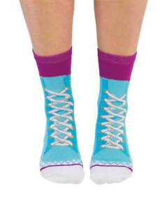 NEW Ladies Lace Up Sneakers Blue Design Fun Novelty Socks - Size 6-10