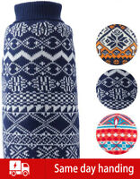 Warm Winter Knit Coat For XS to L Size Dog Pet Plaid Pattern Warm Sweater Soft