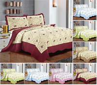 New Quilted Bedspread Embroidered Bed Throw Single Double King Size Bedding Set