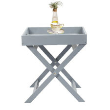 Wooden Tray Butler Table Grey White Serving Folding UK