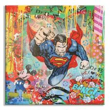 Follow Superman , Original Oil, Acrylic, Stencil Painting on canvas, by Dr8Love