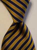 "GIANNI VERSACE Mens Silk XL 63 1/2"" Necktie ITALY Luxury STRIPED Blue/Yellow EUC"