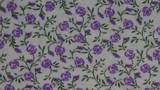 2 fat quarters in polycotton with tiny purple flowers and foliage on white