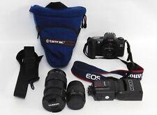 Canon EOS Rebel G SLR Film Camera w/Tamron & Canon Lenses Speedlite Flash & Case