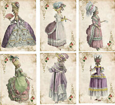 Vintage inspired Marie Antoinette pastel color gowns cards tag ATC set of 6
