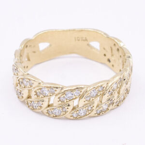 7mm CZ Miami Cuban Link Ring 10K Yellow Gold ALL SIZES