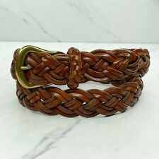 Talbots Vintage Brown Braided Woven Thick Leather Belt Size Medium