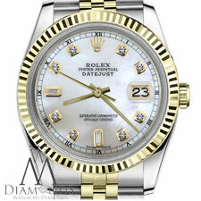 Rolex 31mm Midsize Datejust 18K & SS White MOP Mother Of Pearl with Diamond Dial