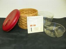 Longaberger 2004 Mother's Day Essentials Basket Combo With Red Leather Lid