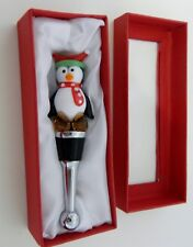 LSArts Wine Bottle Stopper Gifts Essentials Christmas Penguin NIB Blown Glass