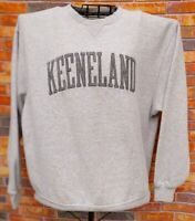 KEENELAND RACE HORSE TRACK LG GRAY SWEATSHIRT SPELL OUT LOGO LEXINGTON KY
