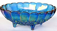 VTG Blue Carnival Glass Bowl Footed Iridescent Indiana Oval Harvest Fruit 2211