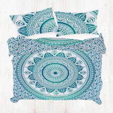 Indian Sea Green Mandala Bohemian KING Size Quilt Doona Cover Set Pillow Case