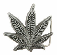 Marijuana Cannibus Weed Leaf Silver Metal Belt Buckle