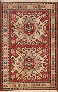 Vintage Geometric Anatolian Oriental Area Rug Hand-knotted Wool RED Carpet 4x6