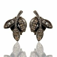 Pave Diamond Black Rhodium 925 Sterling Silver Stud Earrings Designer Jewelry