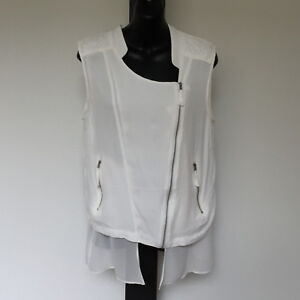 'SUSSAN' EC SIZE '12' WHITE LAYERED DIAGONAL ZIP FRONT & POCKETS LINED TOP
