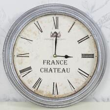 Vintage Home Round Wall Clock White Grey Wash Distressed Wood France Chateau