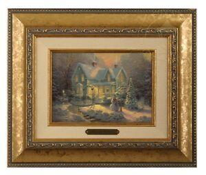 Thomas Kinkade Blessings of Christmas 5 x 7 Framed Brushwork (Gold Frame)