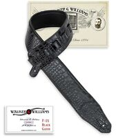 Walker & Williams F-21 Black Gator Strap With Padded Glove Leather Back