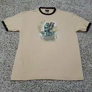 VTG Xbox Halo 2 Master Chief T Shirt Ringer Brown Video Game Promo 2004 XL
