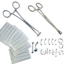 42pc Ear Lip Navel belly Body Piercing Kit Forcep Septum Nose 12G-20G Jewelry