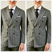 Gray Pinstripe Groom Mens Suits Double Breasted Business Formal Prom Tuxedos