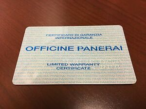 ~Very Rare~ Officine Panerai Warranty Card Stamped and Dated