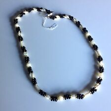 """Vintage Jade and Mother of Pearl 22"""" Inch Necklace With Goldtone Accents"""