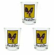 Lot of 3 Shot Glass With Puerto Rico Rooster Flag Crystal SOUVENIR Rican Boricua